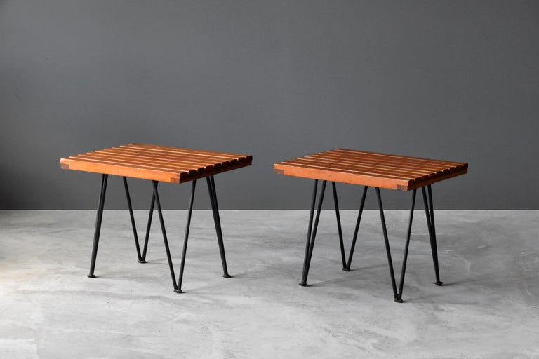 "A pair of side tables or benches designed by husband and wife duo Pipsan Saarinen Swanson & J. Robert F. Swanson. Designed by their firm Swanson and Associates as part of the ""Sol-Air"" line for Ficks Reed Company, Cincinnati in 1949. 
