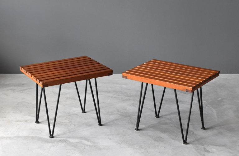 Mid-Century Modern Pipsan Saarinen & J. Robert F. Swanson, Side Tables, Steel, Pine Ficks Reed 1949 For Sale