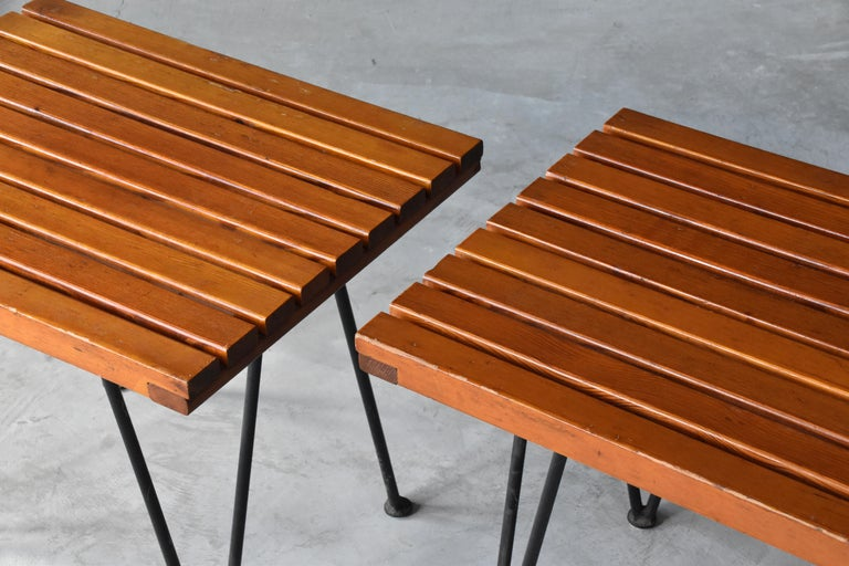 Metal Pipsan Saarinen & J. Robert F. Swanson, Side Tables, Steel, Pine Ficks Reed 1949 For Sale