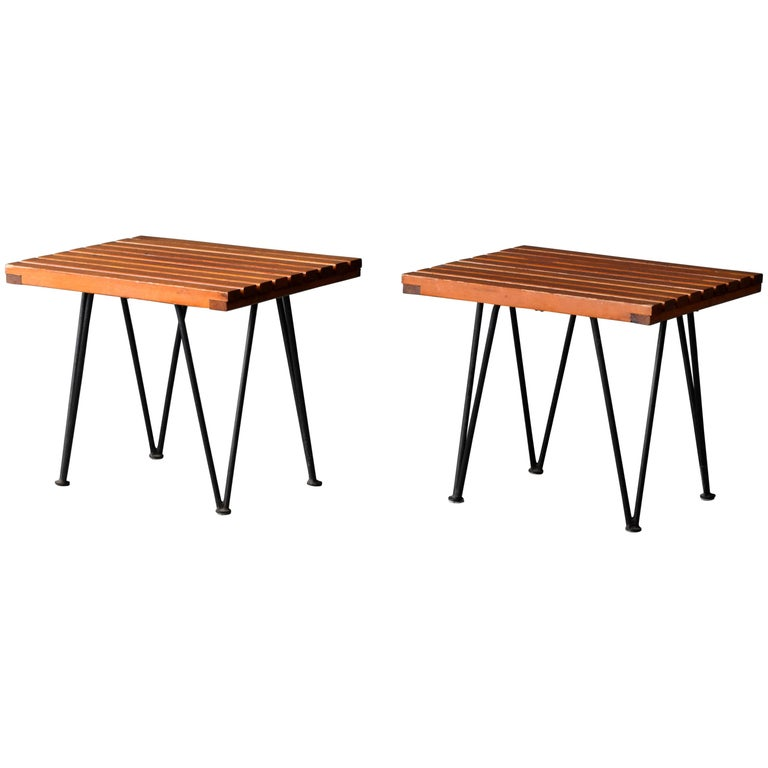 Pipsan Saarinen & J. Robert F. Swanson, Side Tables, Steel, Pine Ficks Reed 1949 For Sale