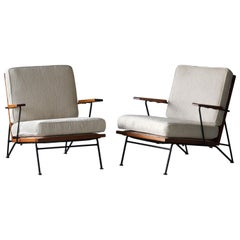 Pipsan Saarinen, Lounge Chairs, White Fabric, Rope, Steel, Pine Ficks Reed, 1949