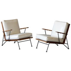 Pipsan Saarinen, Lounge Chairs, White Leather Rope, Steel, Pine Ficks Reed, 1949