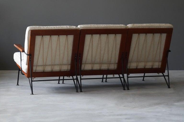 American Pipsan Saarinen, Sofa, White Fabric, Rope, Steel, Pine Ficks Reed, 1949 For Sale