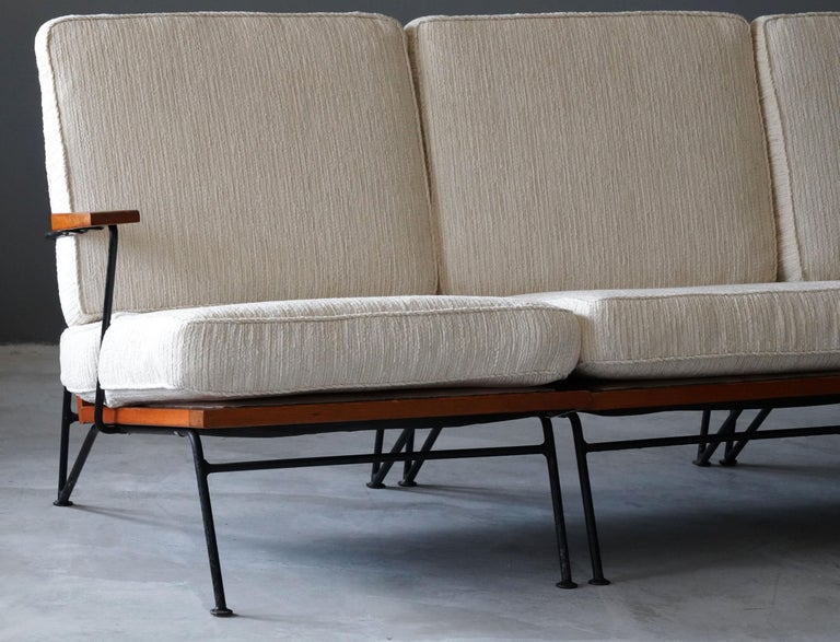 Pipsan Saarinen, Sofa, White Fabric, Rope, Steel, Pine Ficks Reed, 1949 In Good Condition For Sale In West Palm Beach, FL