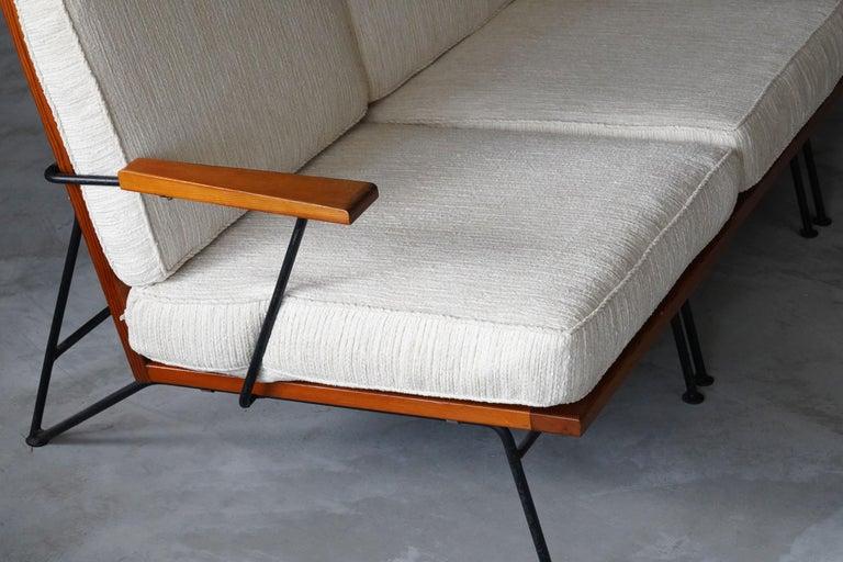 Mid-20th Century Pipsan Saarinen, Sofa, White Fabric, Rope, Steel, Pine Ficks Reed, 1949 For Sale