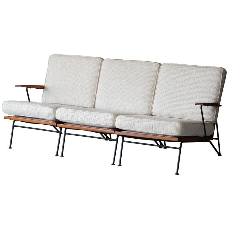 Pipsan Saarinen, Sofa, White Fabric, Rope, Steel, Pine Ficks Reed, 1949 For Sale