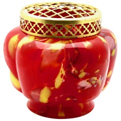 'Pique Fleurs' Vase, in Fire-Storm Decor with Grille, Late 1930s