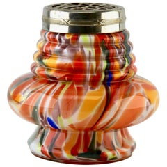 'Pique Fleurs' Vase in Multicolored Splatter Glass, with Grille