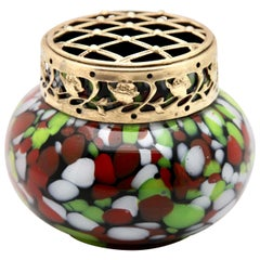 'Pique Fleurs' Vase in Red, White, Green Splatter Colors, with Grille