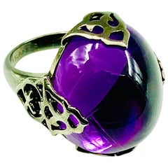 Piranesi 18 Karat Blackened Gold 42.35 Carat Cabochon Amethyst Ring