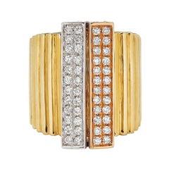 Piranesi Accordion Ring 18k White, Yellow and Rose Gold with 1.32 Carats Diamond