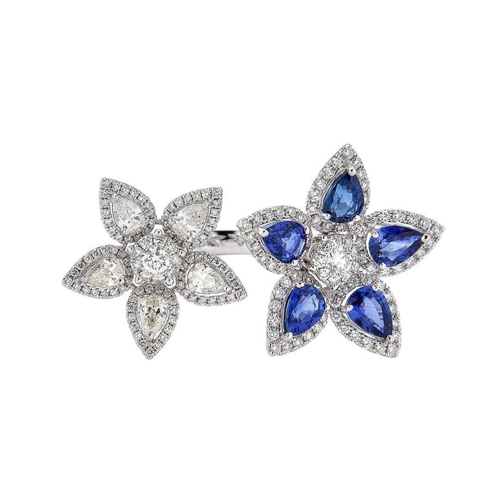 Piranesi Aspen Double Flower Ring in 18k White Gold with Blue Sapphire