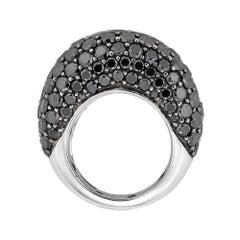 Piranesi Dome Ring in 18K White and Black Gold with Black Diamonds