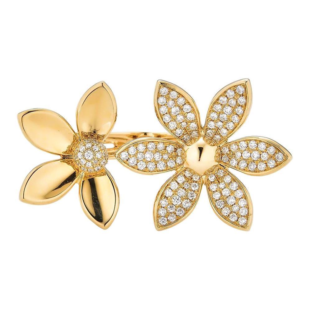 Piranesi Double Oro Flower Ring in 18k Yellow Gold with Diamond