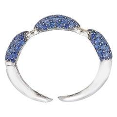 Piranesi Mosaique Bangle Bracelet in 18k White & Black Gold with Blue Sapphire