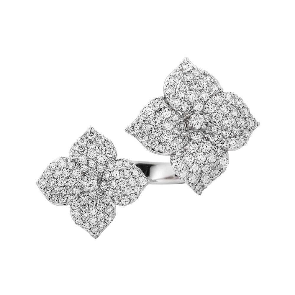 Piranesi Mosaique Flower Double Ring in 18k White Gold with Diamonds