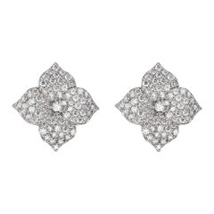 Piranesi Mosaique Large Flower Earrings in 18k White Gold with White Diamond