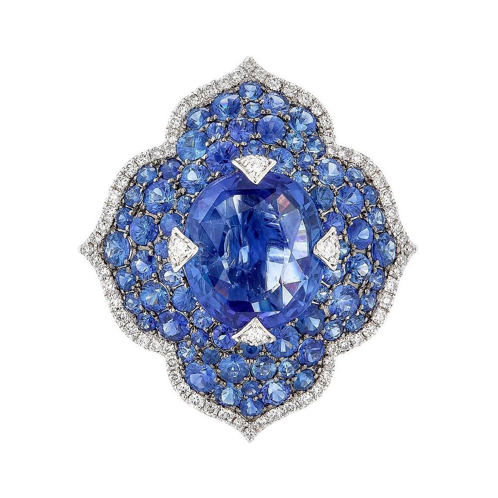 Piranesi Pacha Ring with Blue Sapphire and Round Diamond