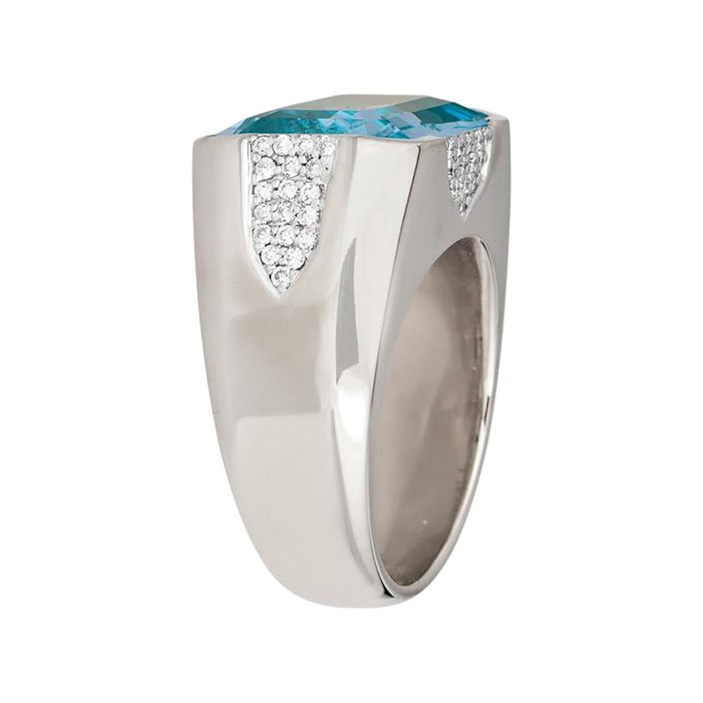 Piranesi Pietra Large Ring in 18k White Gold with Blue Topaz and Diamond