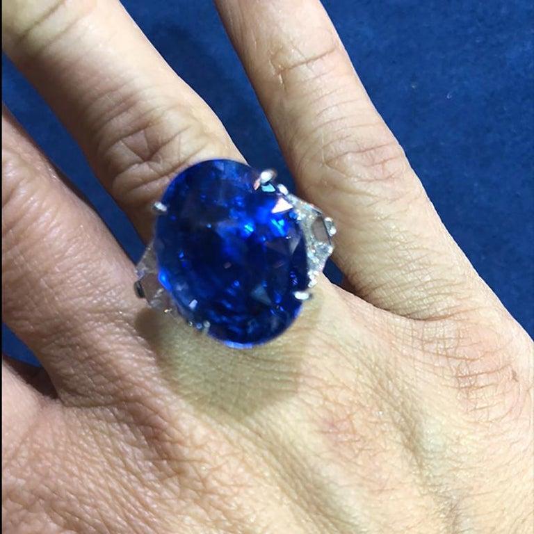 Oval Cut Piranesi Platinum Oval Sapphire, Diamond Ring For Sale