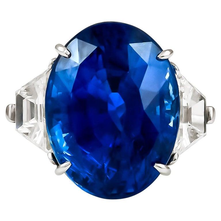 Piranesi Platinum Oval Sapphire, Diamond Ring For Sale