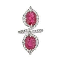 Piranesi Two Stone Ring with Ruby and Round Diamond