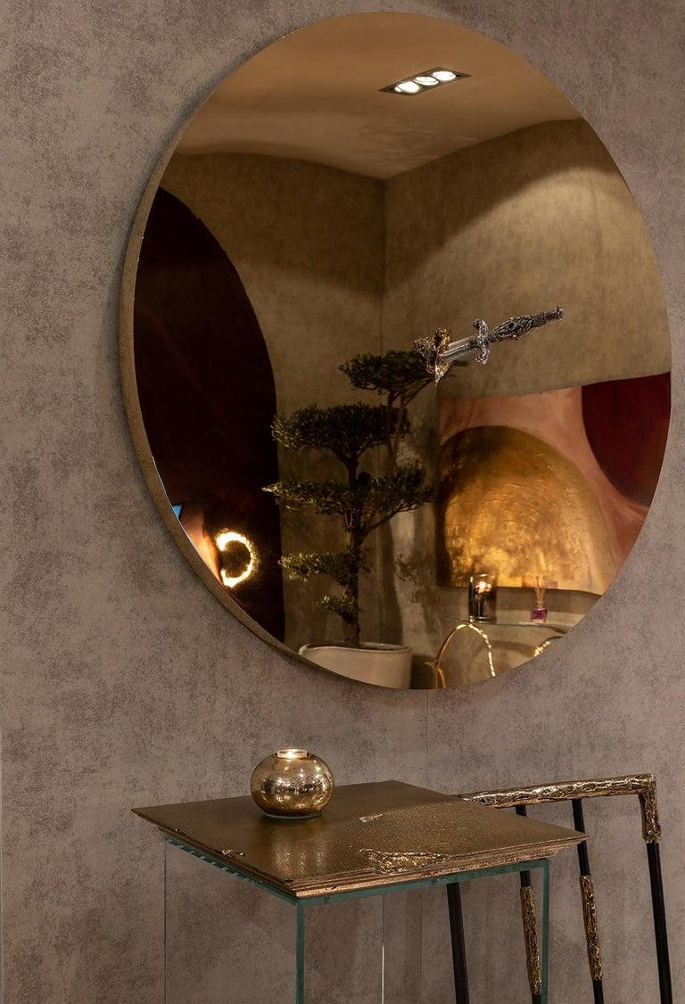Modern Art Pirate Mirror in Polished Brass, Fine Silver, Precious Stones and Diamonds For Sale