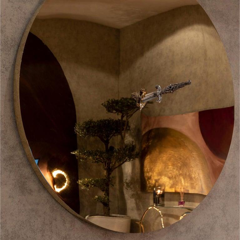 Portuguese Art Pirate Mirror in Polished Brass, Fine Silver, Precious Stones and Diamonds For Sale