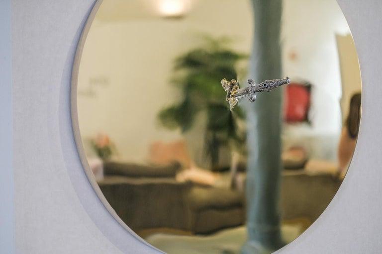Art Pirate Mirror in Polished Brass, Fine Silver, Precious Stones and Diamonds For Sale 2