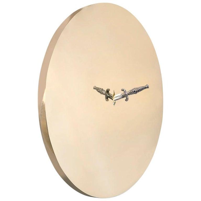 Art Pirate Mirror in Polished Brass, Fine Silver, Precious Stones and Diamonds For Sale