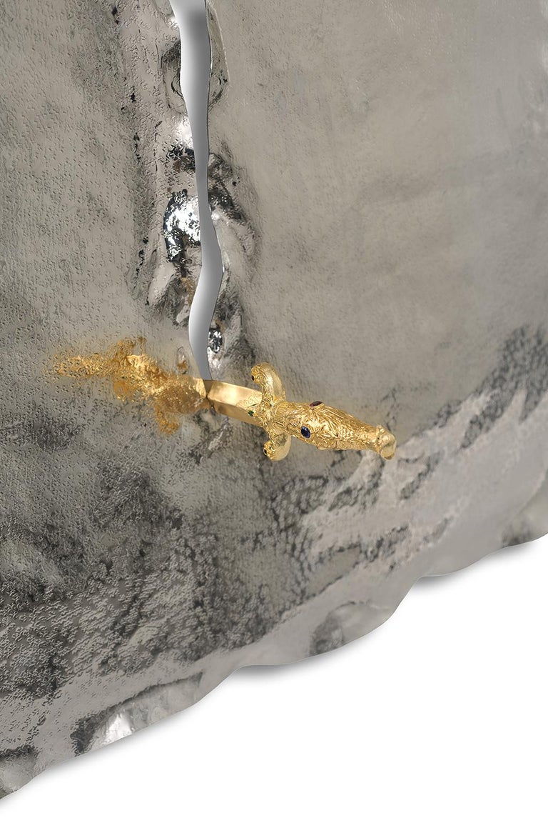 Modern Pirate Wall Accessory, Nickel Brass, Dagger with Precious Stones and Diamonds For Sale