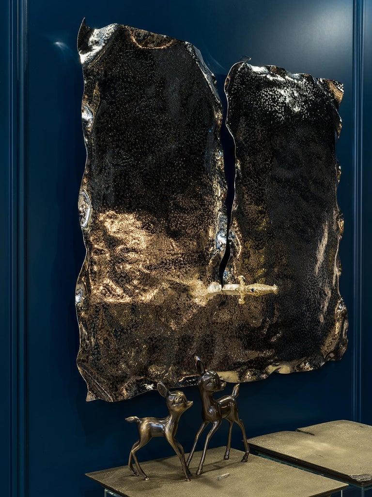Pirate Wall Accessory, Nickel Brass, Dagger with Precious Stones and Diamonds In New Condition For Sale In Oporto, PT
