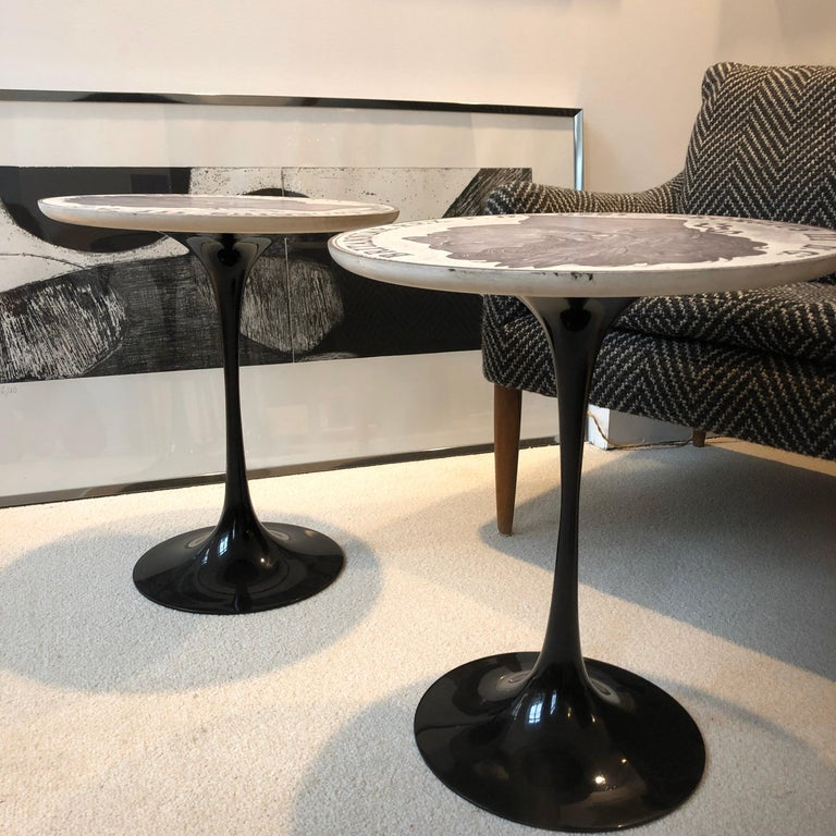 Pire of Tulip Side Tables by Maurice Burke for Arkana, 1960 In Good Condition For Sale In Paris, France