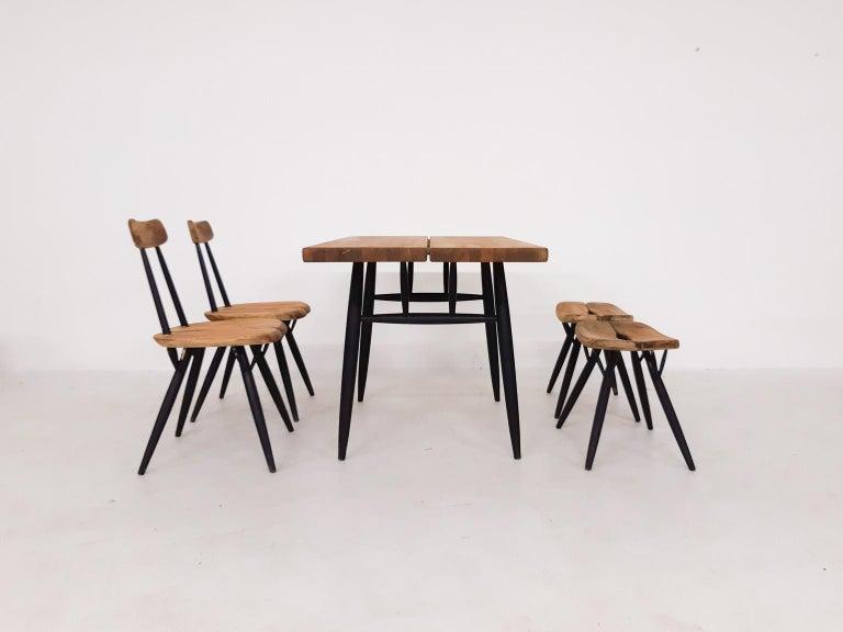 Scandinavian Modern Pirkka Dining Set by Ilmari Tapiovaara for Laukaan Puu, Finland, 1955 For Sale