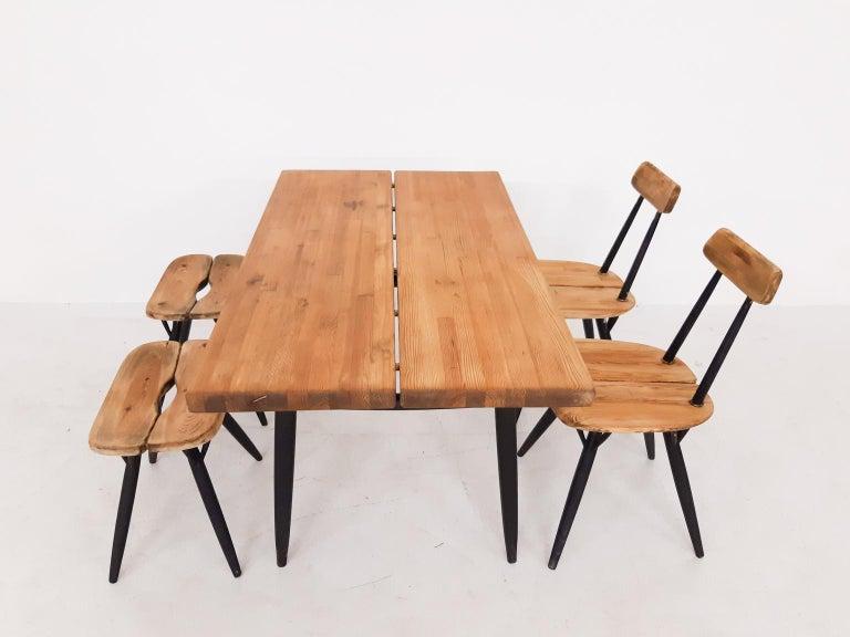 Pirkka Dining Set by Ilmari Tapiovaara for Laukaan Puu, Finland, 1955 In Good Condition For Sale In Amsterdam, NL