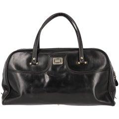 Pirovano Vintage Black Leather Travel Bag, 1960s