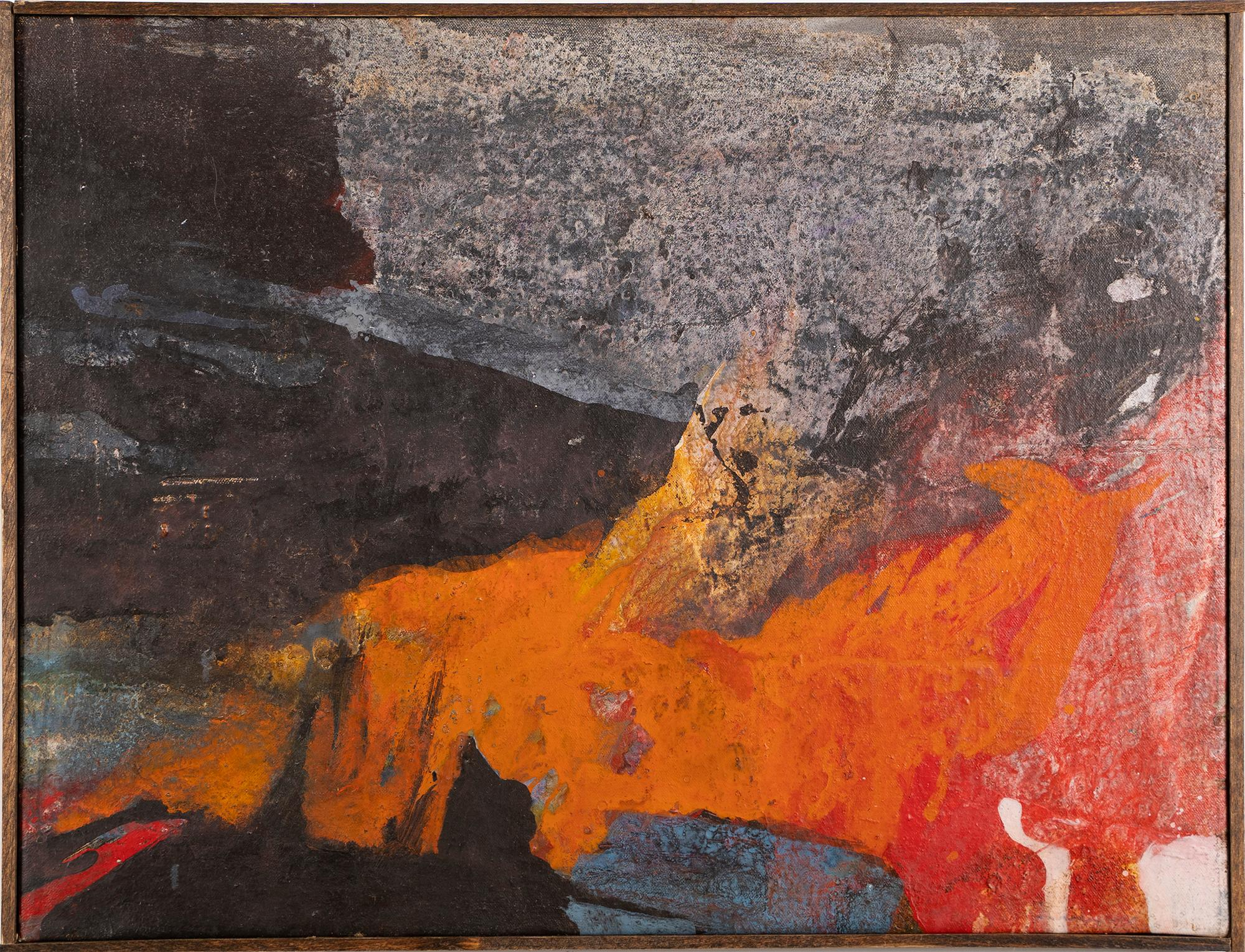 Vintage Mid Century Modern Abstract Expressionist Ethereal Organic Oil Painting