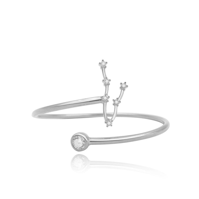 Modern Pisces Constellation Wire Bezel Cuff For Sale