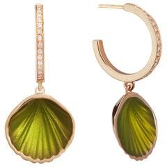 Pistacchio Shell Pop Hoop Stoned - 14k Yellow Gold Diamond Green Enamel Earring