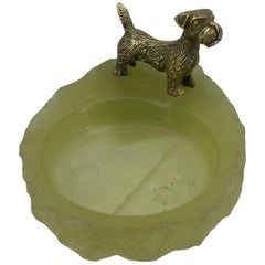 Pistachio Green Onyx and Bronze Terrier Ashtray or Jewelry Tray