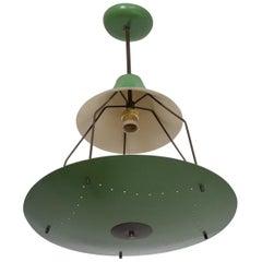 Pistachio Green Tiered Italian Chandelier Lamp Mid-Century Modern, Italy, 1950s