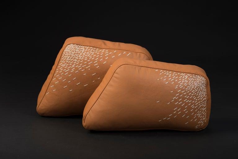 Mexican Pita Cushion Medium, Orange Leather For Sale