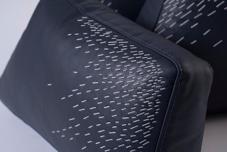 Minimalist Pita Cushion Small, Blue Leather For Sale