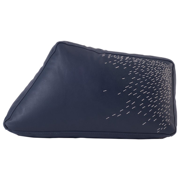 Pita Cushion Small, Blue Leather For Sale