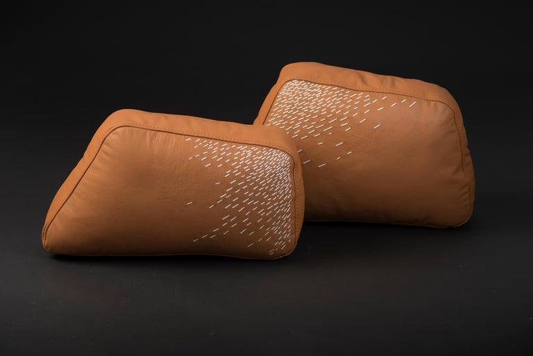 Minimalist Pita Cushion Small, Orange Leather For Sale