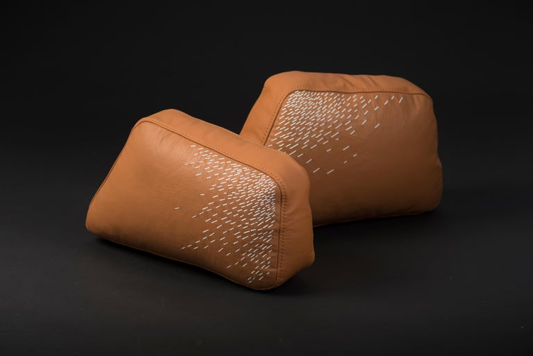 Mexican Pita Cushion Small, Orange Leather For Sale