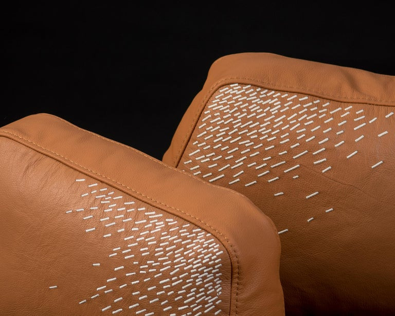 Embroidered Pita Cushion Small, Orange Leather For Sale