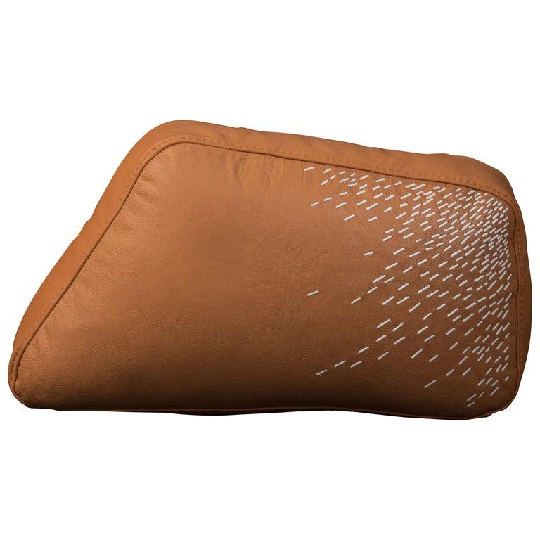 Pita Cushion Small, Orange Leather For Sale