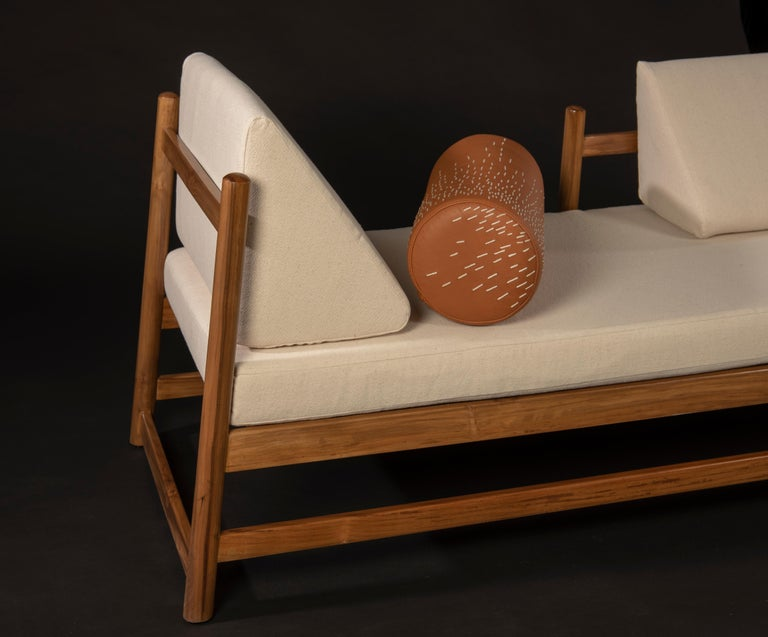 Mexican Pita Outdoors Daybed, Teak Wood and Off-White Denim For Sale