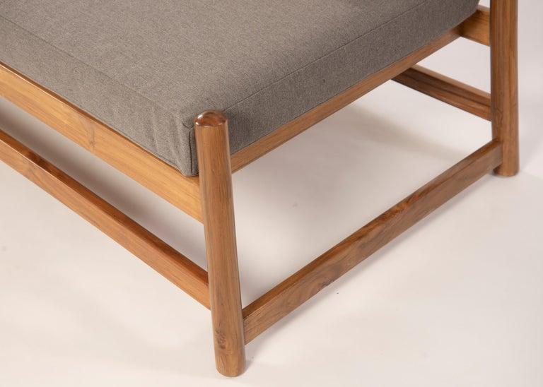 Minimalist Pita Outdoors Daybed, Teak Wood and Sunbrella Fabrics For Sale